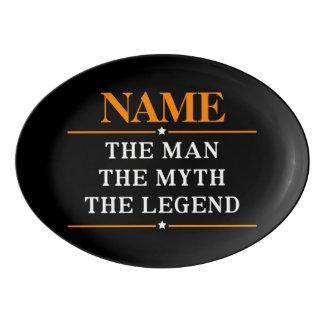 Fuente De Porcelana Nombre personalizado el hombre el mito la leyenda