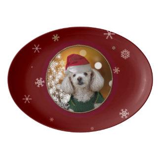 Fuente De Porcelana Placa del perro de caniche del navidad
