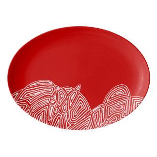 Fuente De Porcelana Ráfaga de Scribbleprint - rojo