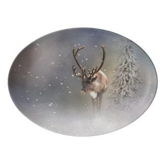 Fuente De Porcelana Reno de Papá Noel en la nieve