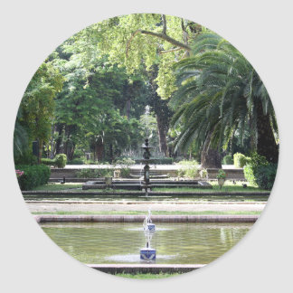 Fuente en Parque de María Luisa, Sevilla Pegatina Redonda