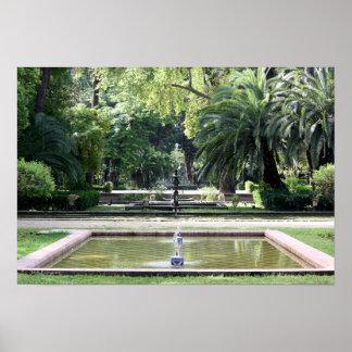 Fuente en Parque de María Luisa, Sevilla Póster