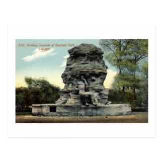 Fuente, parque de Garfield, vintage de Chicago IL Postal