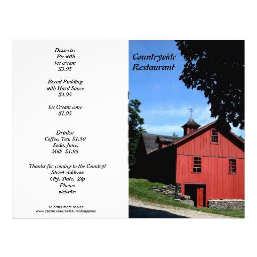 ¡Fuentes del restaurante, menú del campo, personal Flyer A Todo Color
