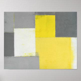 """""""Fuera de arte abstracto gris y amarillo del paso"""" Póster"""