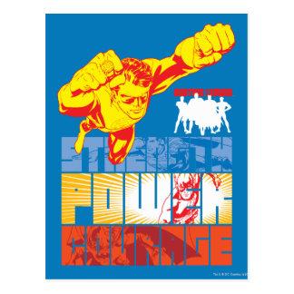 Fuerza de la liga de justicia. Poder. Valor. Carác Postal