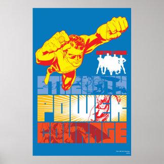 Fuerza de la liga de justicia. Poder. Valor. Carác Póster