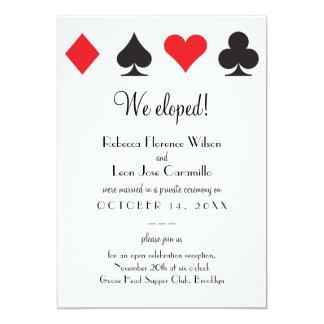 Fuga clásica negra roja Announcment de Las Vegas Invitación 12,7 X 17,8 Cm