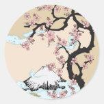Fuji y Sakura Etiqueta Redonda