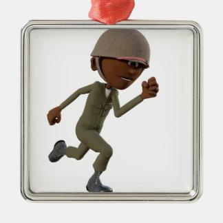 Funcionamiento afroamericano del soldado del adorno navideño cuadrado de metal
