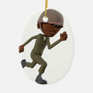 Funcionamiento afroamericano del soldado del adorno navideño ovalado de cerámica