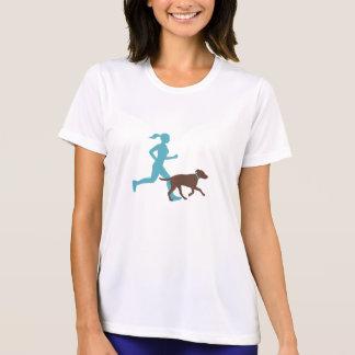Funcionamiento con el perro (aguamarina/choc) camiseta