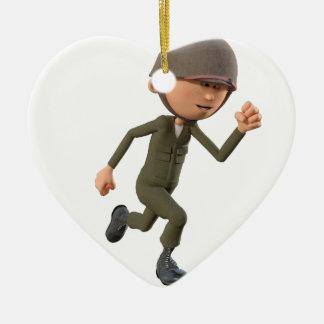 Funcionamiento del soldado del dibujo animado adorno navideño de cerámica en forma de corazón