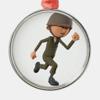 Funcionamiento del soldado del dibujo animado adorno navideño redondo de metal