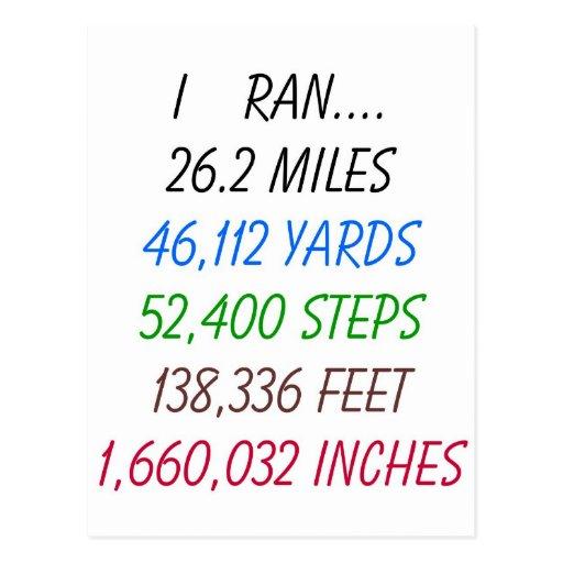 Funcioné con 26,2 millas tarjeta postal
