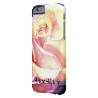 Funda Barely There iPhone 6 Acuarela color de rosa rosada hermosa grande con