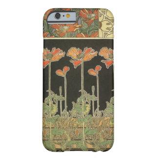 Funda Barely There iPhone 6 Amapolas populares de Nouveau del arte del vintage