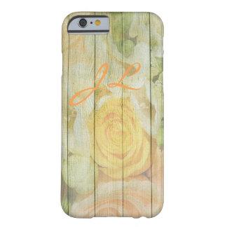 Funda Barely There iPhone 6 Caja con monograma de madera rústica resistida del