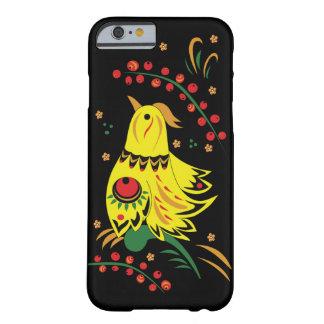 Funda Barely There iPhone 6 Caja de oro de IPhone del gallo de Khokhloma