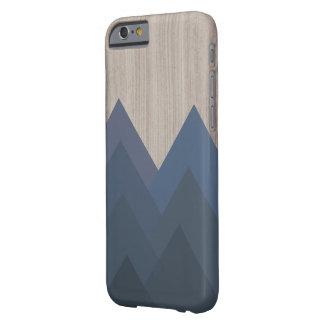 Funda Barely There iPhone 6 Caja geométrica azul y de madera de la montaña