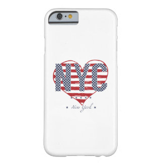 Funda Barely There iPhone 6 Corazón de la bandera americana de NYC