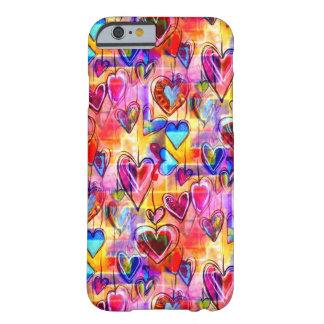 Funda Barely There iPhone 6 Corazones pintados de la primavera