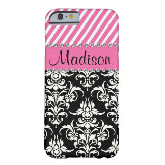 Funda Barely There iPhone 6 Damasco negro y blanco/caja rosada del diamante
