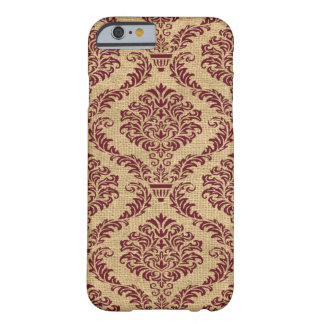 Funda Barely There iPhone 6 Damasco parisiense de los humores de Borgoña