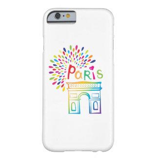 Funda Barely There iPhone 6 Diseño de neón de París Francia el | Arco del
