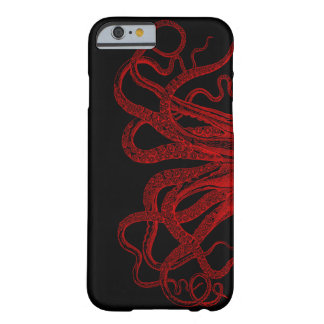Funda Barely There iPhone 6 Ejemplo rojo de los tentáculos del pulpo del