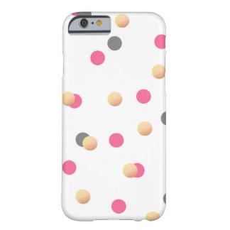 Funda Barely There iPhone 6 el confeti rosado gris oro elegante del polluelo