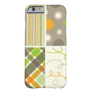 Funda Barely There iPhone 6 El modelo verde anaranjado retro de la tela