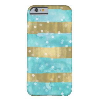 Funda Barely There iPhone 6 El oro de la acuarela de la aguamarina raya Bokeh