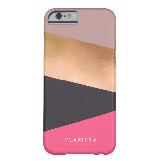 Funda Barely There iPhone 6 el polluelo elegante subió el bloque gris rosado
