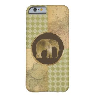 Funda Barely There iPhone 6 Elefante africano en mapa y Argyle