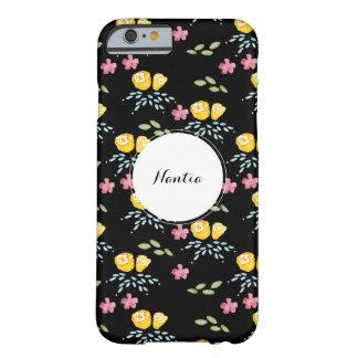 Funda Barely There iPhone 6 Estampado de flores negro con la etiqueta conocida