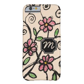 Funda Barely There iPhone 6 Estampado de flores rústico del monograma de