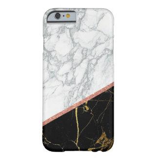 Funda Barely There iPhone 6 Estilo rosado de mármol negro blanco moderno del