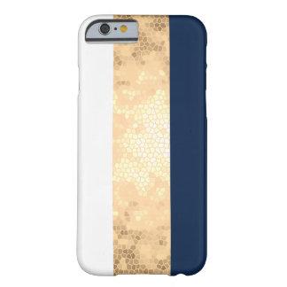 Funda Barely There iPhone 6 falso oro elegante, azul marino, rayas blancas