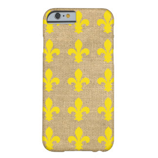 Funda Barely There iPhone 6 Flor de lis parisiense amarilla de los humores