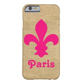 Funda Barely There iPhone 6 Flor de lis parisiense rosada de los humores