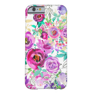 Funda Barely There iPhone 6 Floral moderno elegante colorido brillante rosado