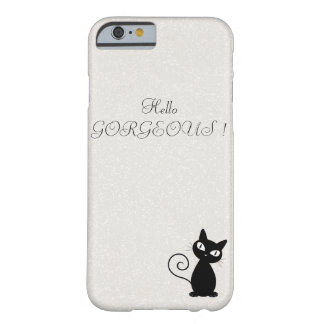 Funda Barely There iPhone 6 Gato negro caprichoso peculiar Reluciente-Hola
