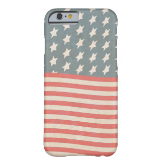 Funda Barely There iPhone 6 Grunge de las barras y estrellas del vintage
