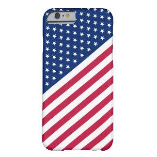 Funda Barely There iPhone 6 Las rayas blancas azules rojas de los E.E.U.U.