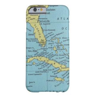 Funda Barely There iPhone 6 Mapa del vintage de la Florida y de Cuba