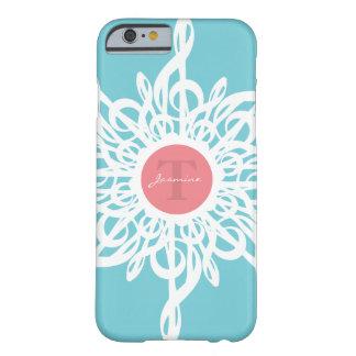 Funda Barely There iPhone 6 Monograma de la flor del Clef agudo de MELTPOINT