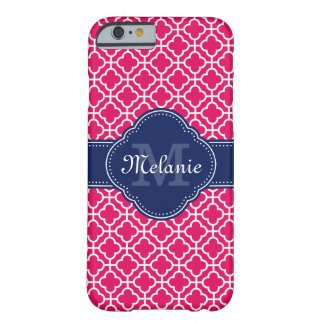 Funda Barely There iPhone 6 Monograma marroquí blanco rosado de la marina de