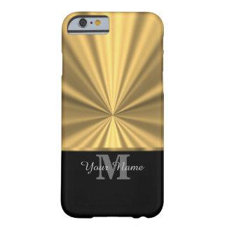 Funda Barely There iPhone 6 Negro y monograma metálico del oro
