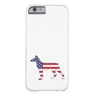 "Funda Barely There iPhone 6 pinscher ""bandera americana "" del doberman"